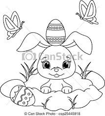vector clip art easter bunny coloring vector