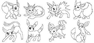 pokemon coloring pages eevee evolutions drawings
