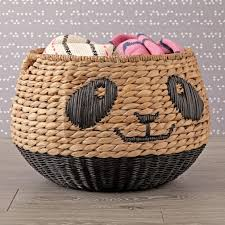 panda woven animal basket the land of nod