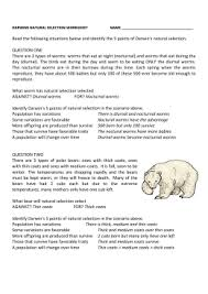 darwin u0027s natural selection worksheet answers pinterest