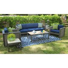 Blue Outdoor Cushions Patio Brown Braided Rattan With Blue Cuhsion Wicker Patio Set For