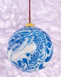 painted glass ornament blue home décor