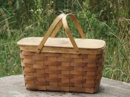 vintage picnic basket retro 50s 60s vintage picnic splint basket w wood lid