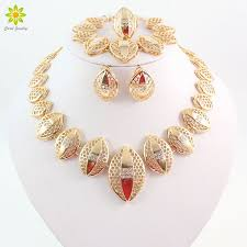 fashion necklace earring sets images Gold color jewelry sets african necklace earrings costume jpg