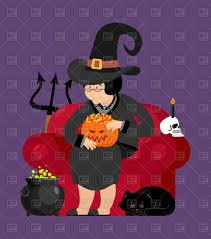old witch with black cat skull and pot halloween interior