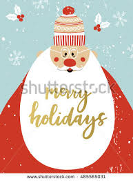 greeting card santa claus merry stock vector 485565043