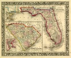 Map Florida Counties by Florida Memory County Map Of Florida And South Carolina 1860