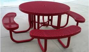 heavy duty round picnic table heavy duty round plastic coated table treetop products