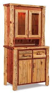kitchen hutch furniture amish rustic cedar log hutch