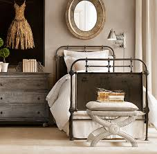 Iron Bedroom Bench Rh French Academie Iron Bed Distressed White Twin 42