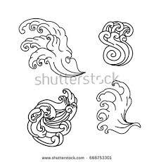 hand drawn japanese wave tattoo design stock vector 574661476
