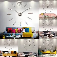 home decor wall clocks fashion large diy wall clock home decor 3d mirror sticker big timer