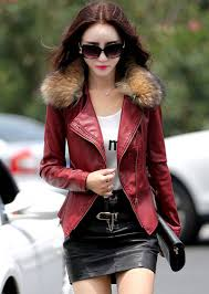 latest beautiful leather jacket for girls in winter 2016