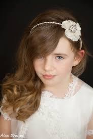 designer hair accessories flower and rhinestone headband holy communion flower girl