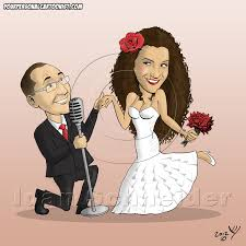 caricature wedding invitations groom serenades your