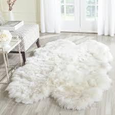 White Sheepskin Rugs Rug Shs211a Sheep Skin Area Rugs By Safavieh