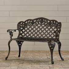 clifford cast aluminum garden bench u0026 reviews birch lane