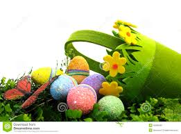 happy easter egg hunt spring scene with pretty green and yellow