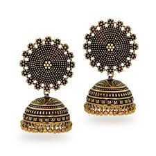 buy oxidised gold plating handmade jhumka earrings online