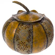 metal pumpkin tealight holder small harvest cracker barrel