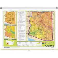 Arizona Map State by Arizona Physical Political State Wall Map Rand Mcnally Store