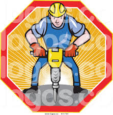 royalty free vector of a construction worker operating a jack