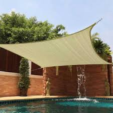 Deck Patio Cover Sun Shade 12x12 Square Top Sail Beige Tan Sand For Deck Patio