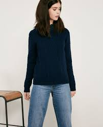 light blue cable knit sweater 100 wool cable knit jumper light navy dodger comptoir des