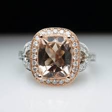 gold and morganite engagement rings cushion cut morganite halo engagement ring in 14k