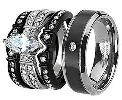 black wedding band sets his and hers wedding ring sets couples matching rings