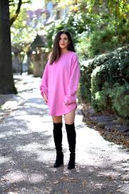 pink sweatshirt dress black otk boots blogging before the
