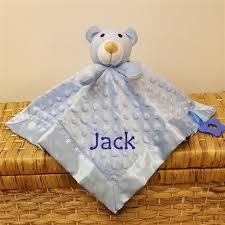 Baby Blanket Comforter Personalised Blue Teddy Comforter Blanket Personalised Comforter