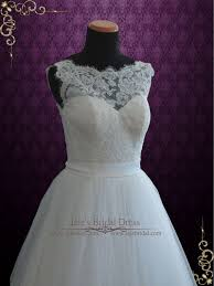 lace ball gown wedding dress with illusion boat neckline vana