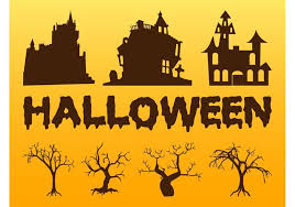 halloween trees and houses download free vector art stock