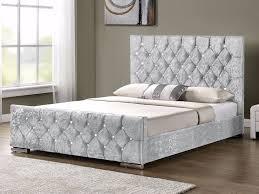 King Size Bed Base Divan King Size Chesterfield Crushed Velvet Divan Bed In Black Silver