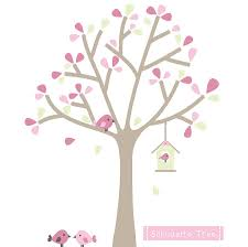 28 pink tree wall sticker large pink flower tree birds wall pink tree wall sticker wall decal beautiful pink and green wall decals pink and