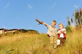 Real Treasure Maps Young Children Playing Explorers With Treasure Map And Wooden