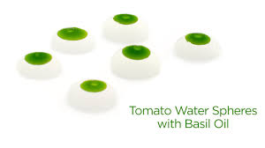 tomato water spheres with basil oil molecular gastronomy