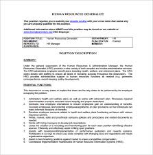 Human Resources Job Description For Resume by 9 Human Resource Job Description Templates U2013 Free Sample Example