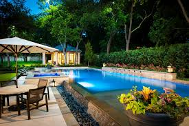 semi inground pools exterior tropical with awning backyard deck
