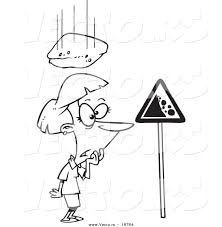 vector of a cartoon rock falling down on a woman outlined