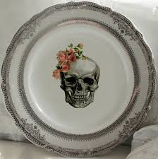silver wedding plates skull wedding plates silver or gold skull dishes