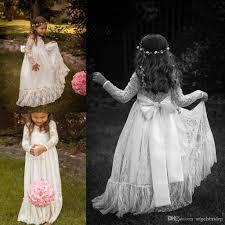 2015 vintage lace flower girls dresses long sleeve princess high