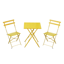 Yellow Bistro Chairs Outsunny 3 Pcs Folding Table Metal Bistro Set Yellow Aosom Co Uk