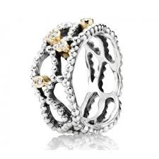 sale silver rings images Pandora silver 14ct gold and diamond delight ring 190604d jpg