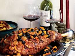 spiced leg of lamb with olives apricots and lemons recipe food