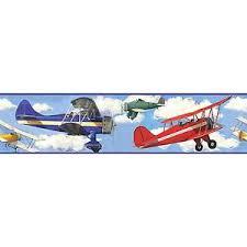 vintage planes wallpaper border self stick biplanes airplanes