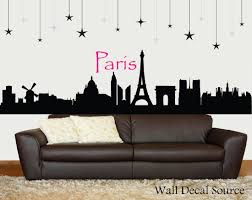 paris skyline silhouette wall decal paris wall art eiffel