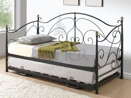 milano black metal day bed u0026 trundle with free delivery for the