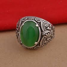 green opal rock women mens big ring silver jewelry with green opal stones men